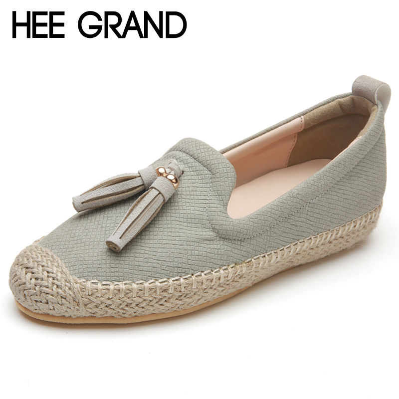 HEE GRAND Women Flats 2019 Platform Loafers Slip On Casual Weave Straw Shoes Woman Comfort Fisher Shoes Woman Size 35-39 XWD6828 hee grand flowers creepers pearl glitter flats shoes woman pink loafers comfort slip on casual women shoes size 35 43 xwc1112