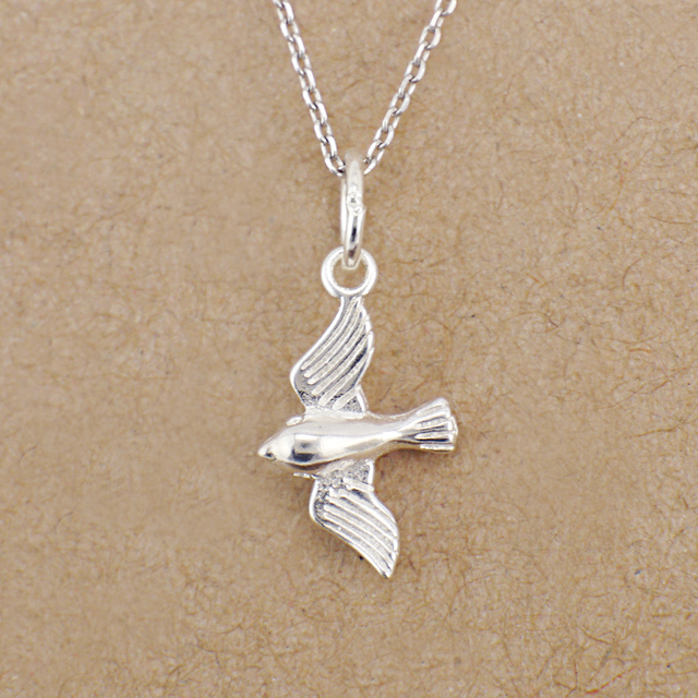 925 Solid Sterling Silver Lovely Bird Swallow Charm Pendant Necklace A2914+chain B