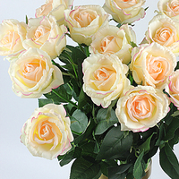 15Pieces Quality Party/Home/Wedding Decoration Bride Bouquet Artificial Latex Real Touch Rose Flowers