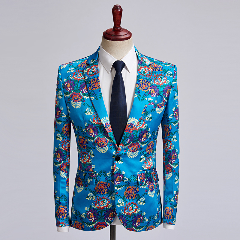 The new 2018 lake blue print dress men leisure suit studio host suit