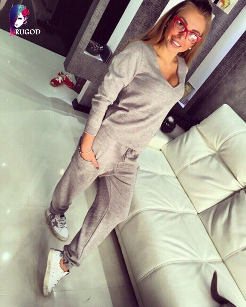 17 Hot 2 Pieces Set Women V-Neck Sexy Knitted two pieces sets Spring Suits Tracksuit Sweater top+ Pants Set Womens Casual Suit 11