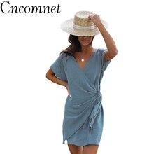 купить Cncomnet Summer Kimono Wrap Bandage Women Dress Sexy V-neck Irregular Fashion Knot Mini Dress Female Solid Short Sleeve Sundress по цене 702.77 рублей