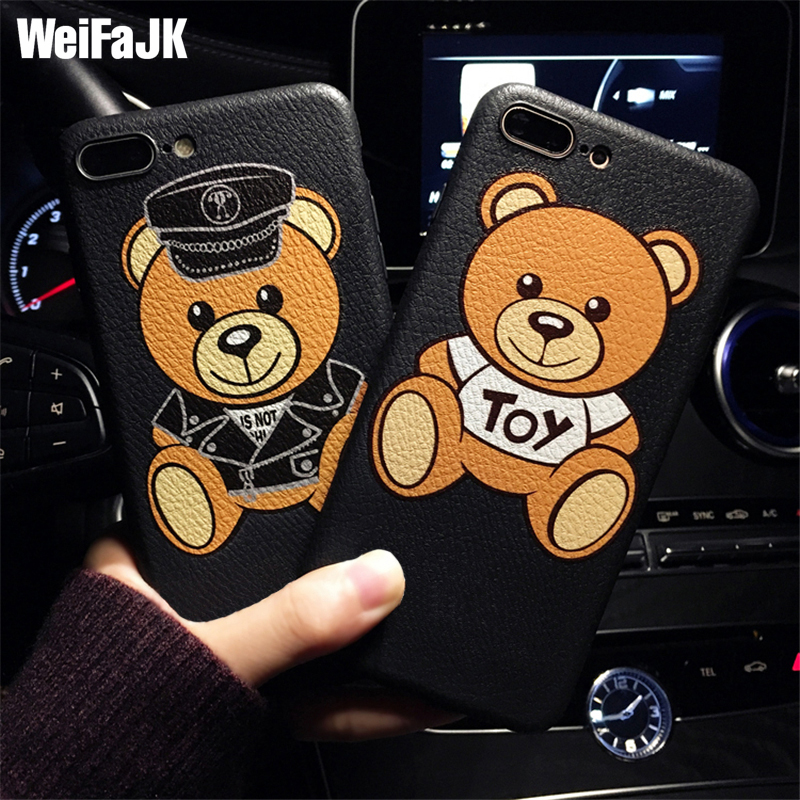 Luxury Brand Bear Silicone Phone Case For iPhone 7 6 6s Plus Cases Girls Cute Cartoon Soft TPU Cover For iPhone Case 7 8 Plus X