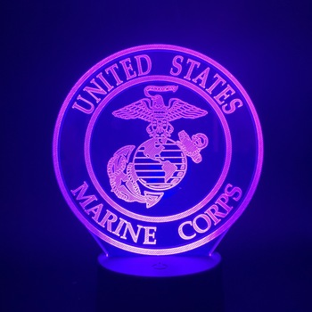 Soldier Bedroom Nightlight Lamp United States Marine Corps USMC Logo Led Night Light for Office Room Decoration Gift for Adult the united states marine corps workout rev