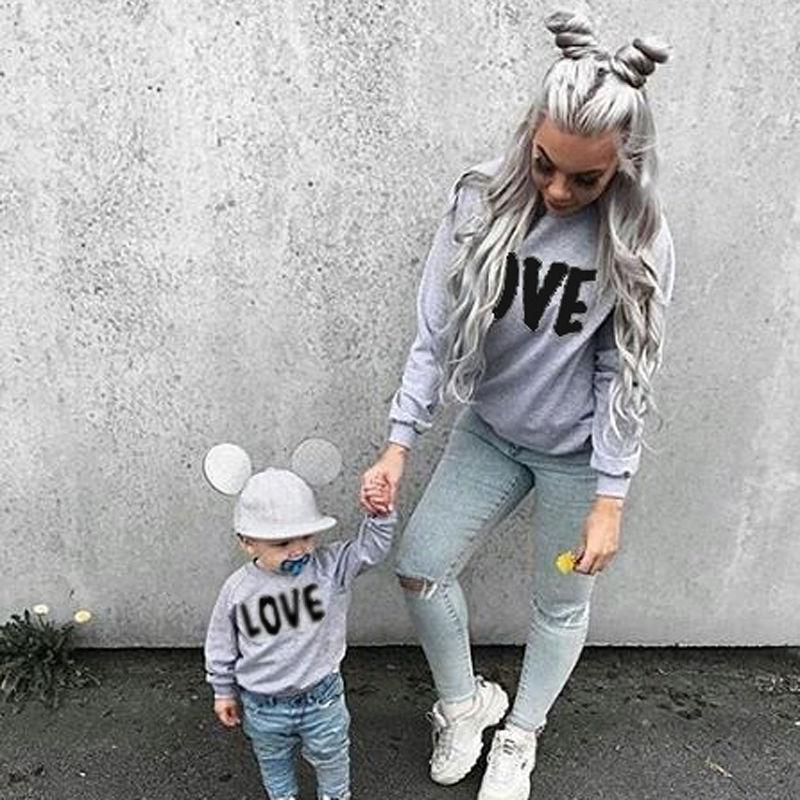2017 Neue Marke Mutter Tochter Hoodies Winter Familie Outfit Kleidung Langarm Top Frauen Kind Madchen Pullover Outwear Beilaufige In