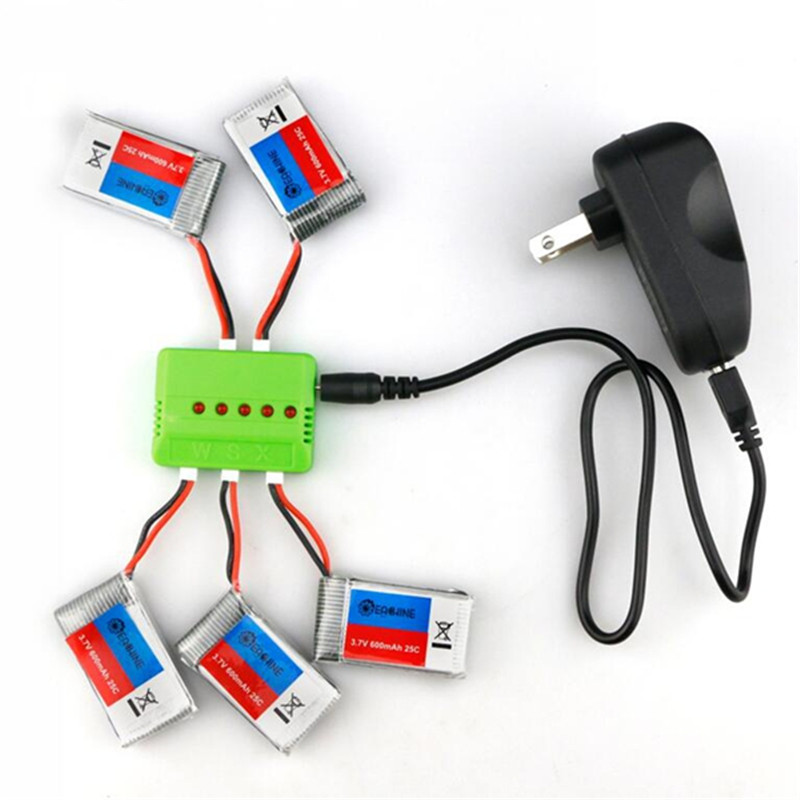 New Arrival 5X Eachine <font><b>3.7V</b></font> 600mah 25C <font><b>Lipo</b></font> <font><b>Battery</b></font> With <font><b>Charger</b></font> For QX90 QX95 QX80 QX100 EX100 EX105 EX110 X73 image