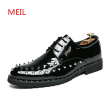 Patent Leather Wedding Shoes Men 2018 Spring Autumn Rivet Black Mens Dress Formal Oxford for Zapatos Hombre