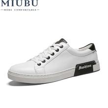 MIUBU Leather Casual Shoes Men Brand Lace Up Flats Walking Shoes Black White Spring Autumn Man Fashion Split Leather Footwear цены онлайн