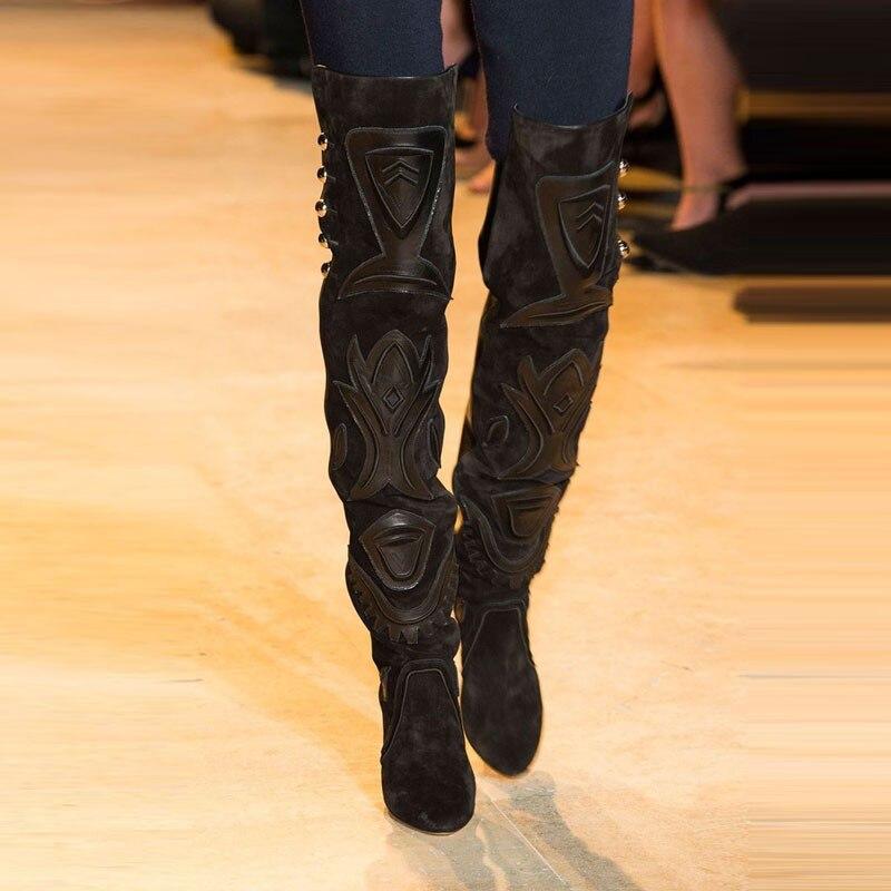 2018 New 3D Prints Black Suede Women Thigh High Boot Fashion Women Shoes Rivets & Appliques High Heels New Autumn Winter Botas bfdadi 2018 new autumn winter high