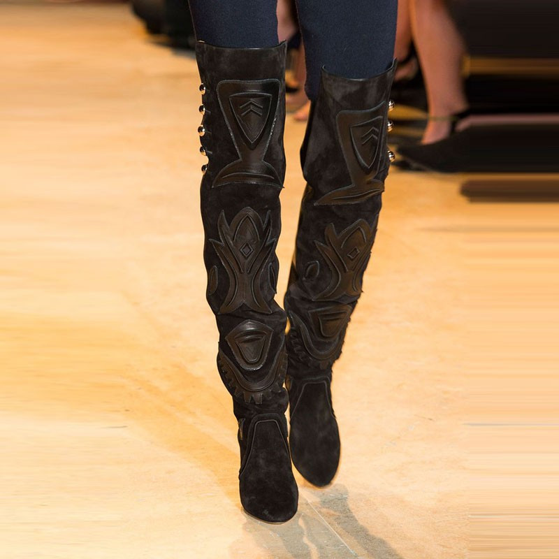 2018 New 3D Prints Black Suede Women Thigh High Boot Fashion Women Shoes Rivets & Appliques High Heels New Autumn Winter Botas