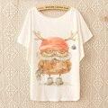 Estilo dos desenhos animados new primavera verão 2017 coréia versão do cat peixe solta t-shirt de algodão um tamanho das mulheres por atacado