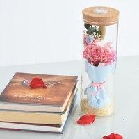 WR Immortale Fiore in Vetro con Luce LED Reale Pink Rose Regali Festa della Mamma Immortale Fiore per la Fidanzata Di Compleanno regali