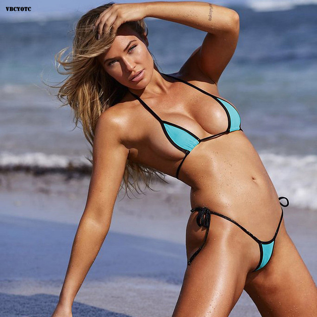 b38228e1d02 VBCYOTC Micro bikini woman swimsuit ladies Three-point sexy low waist black  edge color mini