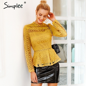 Image 1 - Simplee Elegant lace hollow out peplum blouse shirt women Ruffles long sleeve white blouse female Autumn winter tops office lady