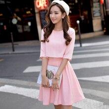 D'origine 2016 Marque Printemps Automne Robe Femme Dentelle Faux 2 Pièces Plus La Taille Taille Haute Lumière Rose Plaid Robe Femmes