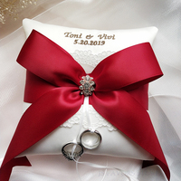 Free shipping1pcs custom embroidered ribbon Photo props engagement wedding decoration marriage proposal good idea ring pillow