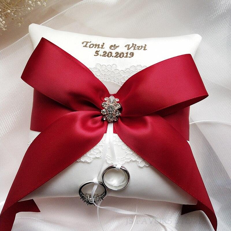 Libre shipping1pcs personalizada cinta bordada apoyos de la foto de boda matrimonio propuesta buena idea anillo almohada-in Decoraciones DIY de fiestas from Hogar y Mascotas    1