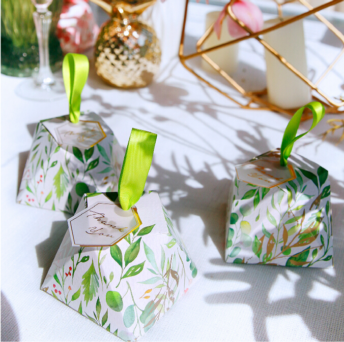 New Diamond Shape Green leaves Forest style Candy Box Wedding Favors And Gift Boxes Party Supplies thanks Gift Chocolate Package (12)