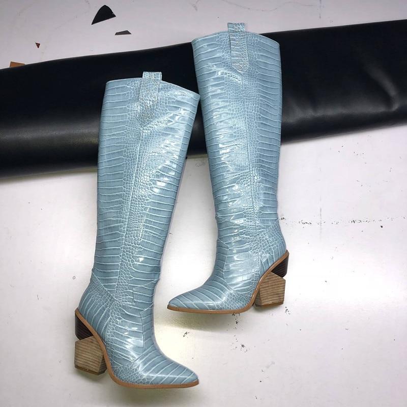 2020New النساء الأحذية وأشار اصبع القدم أسافين الأحذية الخريف الشتاء الأحذية قصيرة السيدات الغربية أنحاء الركبة الأحذية للنساء-في أحذية فوق الركبة من أحذية على  مجموعة 2