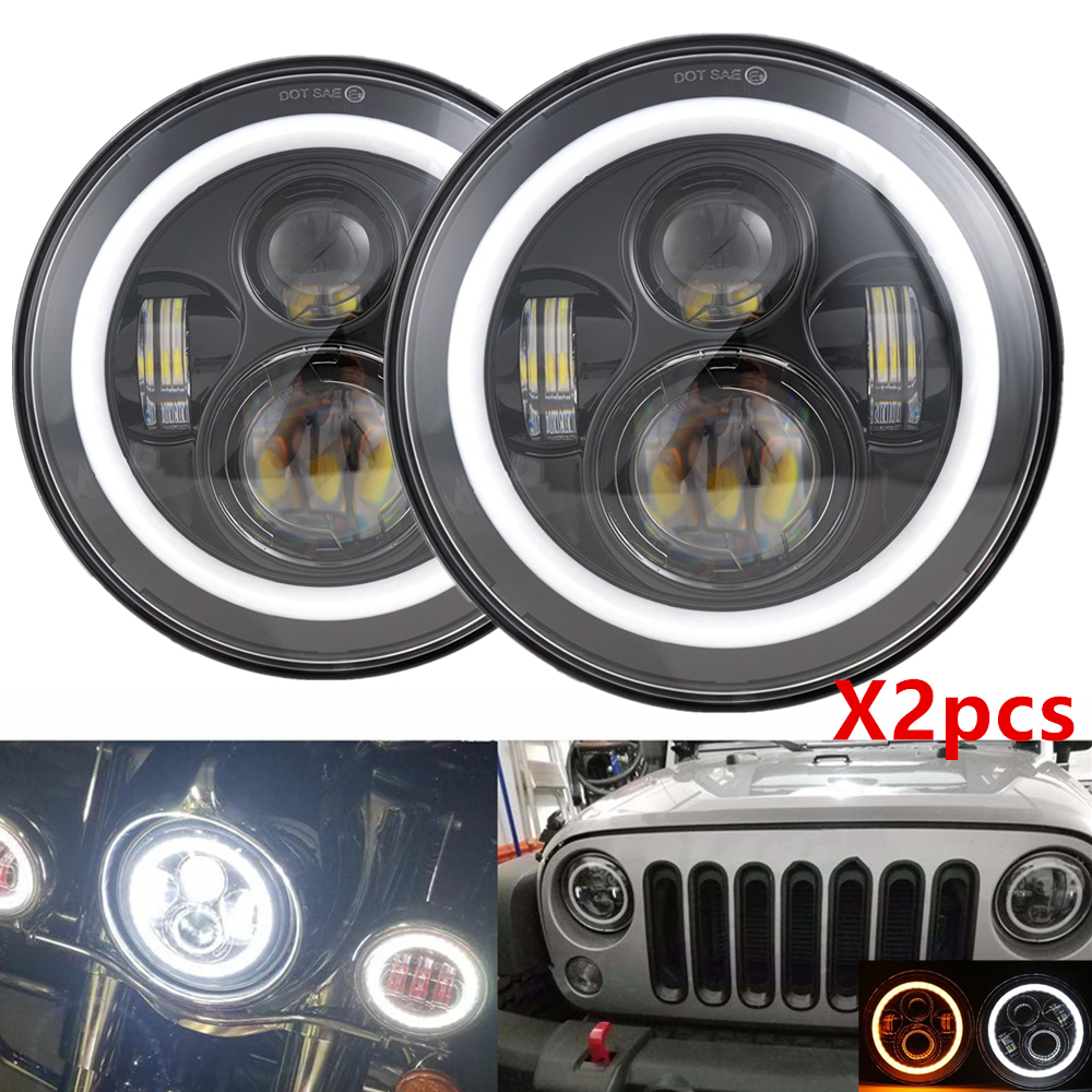 2pcs 7inch Led Headlight For Jeep Wrangler Halo Angle Eyes DRL Headlamp For Lada Niva 4x4 Car Lights For Suzuki Samurai