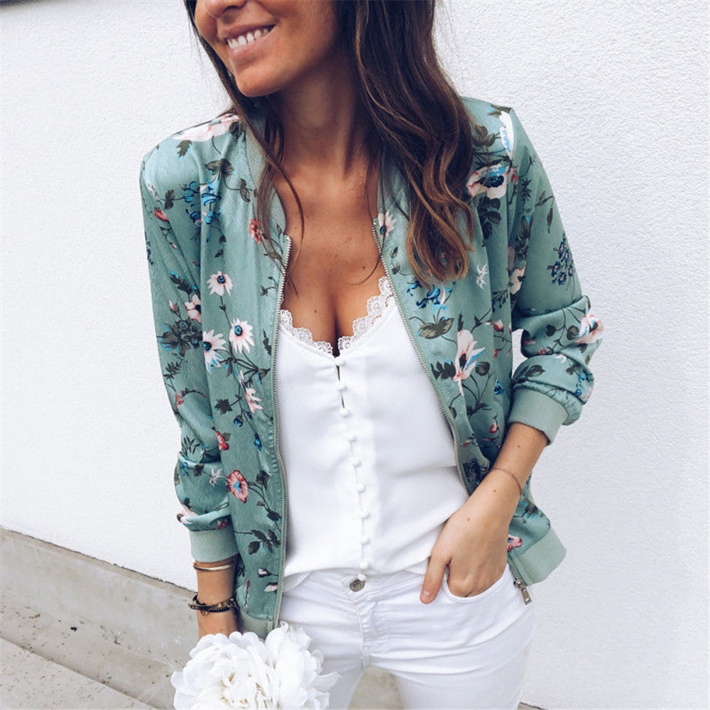 Flower Floral Print Women Jackets Retro Ladies Zipper Up Short Thin Slim Bomber Jacket Coats Basic Casual Outerwear 8 Colors