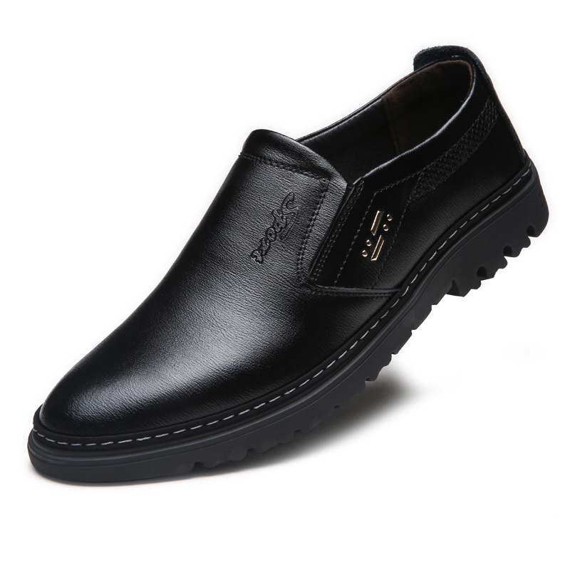 Men's Shoes Men Genuine Leather Loafers Shoes Cow Leather Loafers Round Head Breathable Solid Business Casual Shoes Set Of Feet Rubber Shoes Quality First