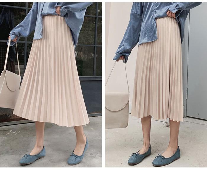 Surmiitro Elegant Solid Midi Pleated Skirt Women 19 Autumn Winter Ladies Korean High Waist A-line School Long Skirt Female 15