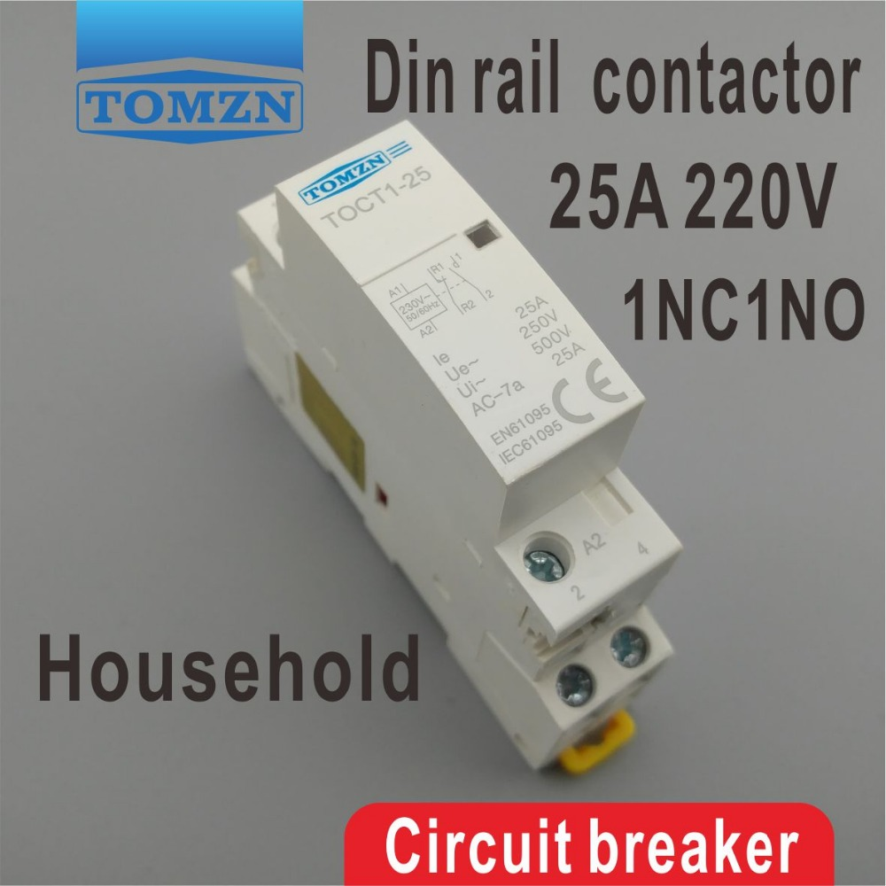 TOCT1 2P 25A 1NC 1NO 230V 50/60HZ Din Rail Household Ac Modular Contactor One Normal Open And One Normal Close