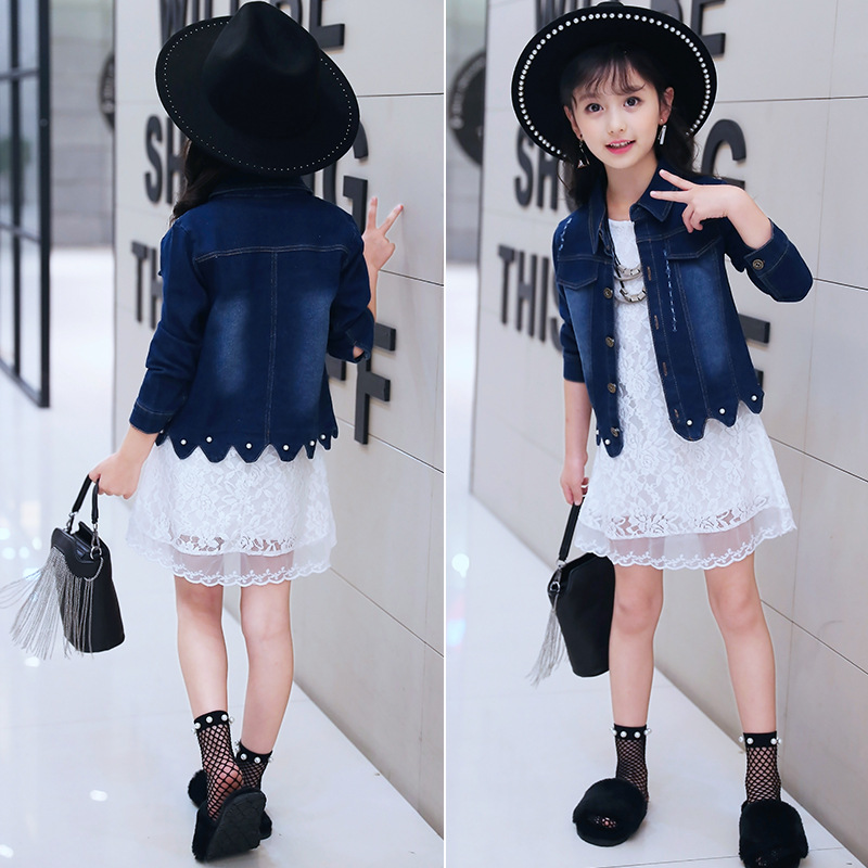 Little Girls Dresses Set Three Quarter White Lace Dress Big Girl Clothes Sets Autumn Kids Clothing Set Girls Denim Jacket 2 Pcs iyeal newest 2018 spring autumn baby girls clothes sets denim jacket tutu dress 2 pcs kids suits infant children clothing set