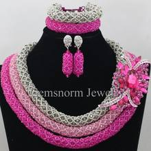 Silver Pink Nigerian Wedding African Beads Jewelry Set Big Rhinestone Pendant Necklace Set African Jewellery Free Shipping WA068(China)