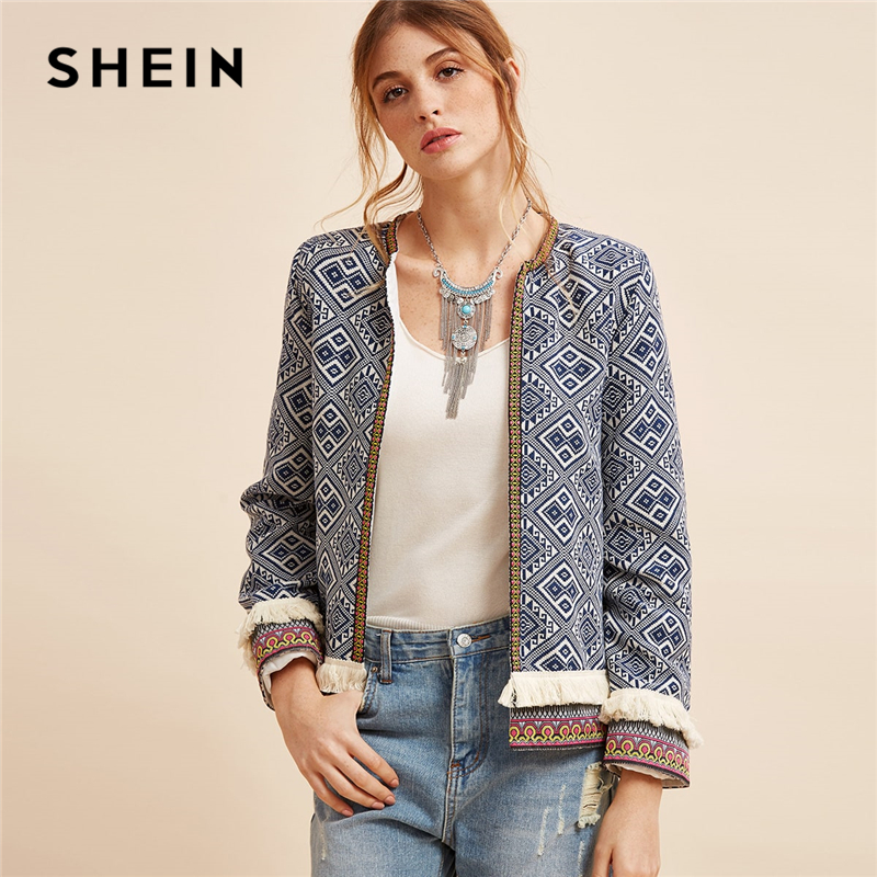 SHEIN Multicolor Fringe Trim Tribal Jacket With Embroidered Tape Coat Women Autumn Long Sleeve Folk Print Casual Outerwear Coats