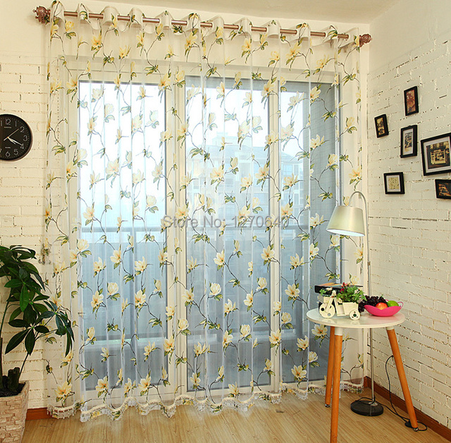 Finished product 2 Color daisy design embroidery window curtain ...