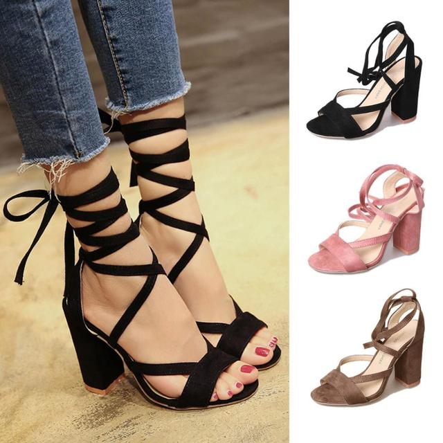 2018 Ladies Sexy Donna Pumps Open Toe Toe Toe Lace up Ankle High Heels   578abe
