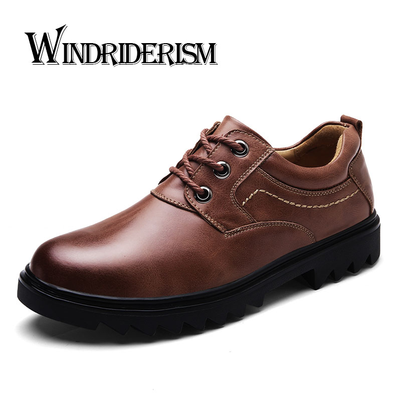 WINDRIDERISM Brand Handmade Breathable Men's Oxford Shoes Top Quality Dress Shoes Men Flats Fashion Genuine Leather Casual Shoes