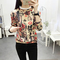 Plus Size XL-2XL Women T Shirt Fashion Flowers Print Long Sleeve T-shirt 2015 New T Shirts Female Loose Casual Tops Tide