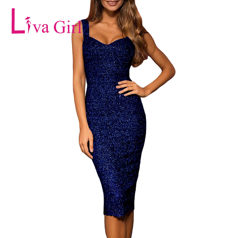 4ccf100203 LIVA GIRL Club Sexy Glitter Party Midi Dress Women Summer Sleeveless  Bodycon Dresses Night Clubwear Black