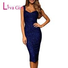 1a327feda5 LIVA GIRL Club Sexy Glitter Party Midi Dress Women Summer Sleeveless  Bodycon Dresses Night Clubwear Black