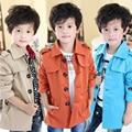 Бесплатная доставка новый 2015 осень дети одежда горячие классическая мальчика пальто верхней одежды пальто черный синий хаки цвет