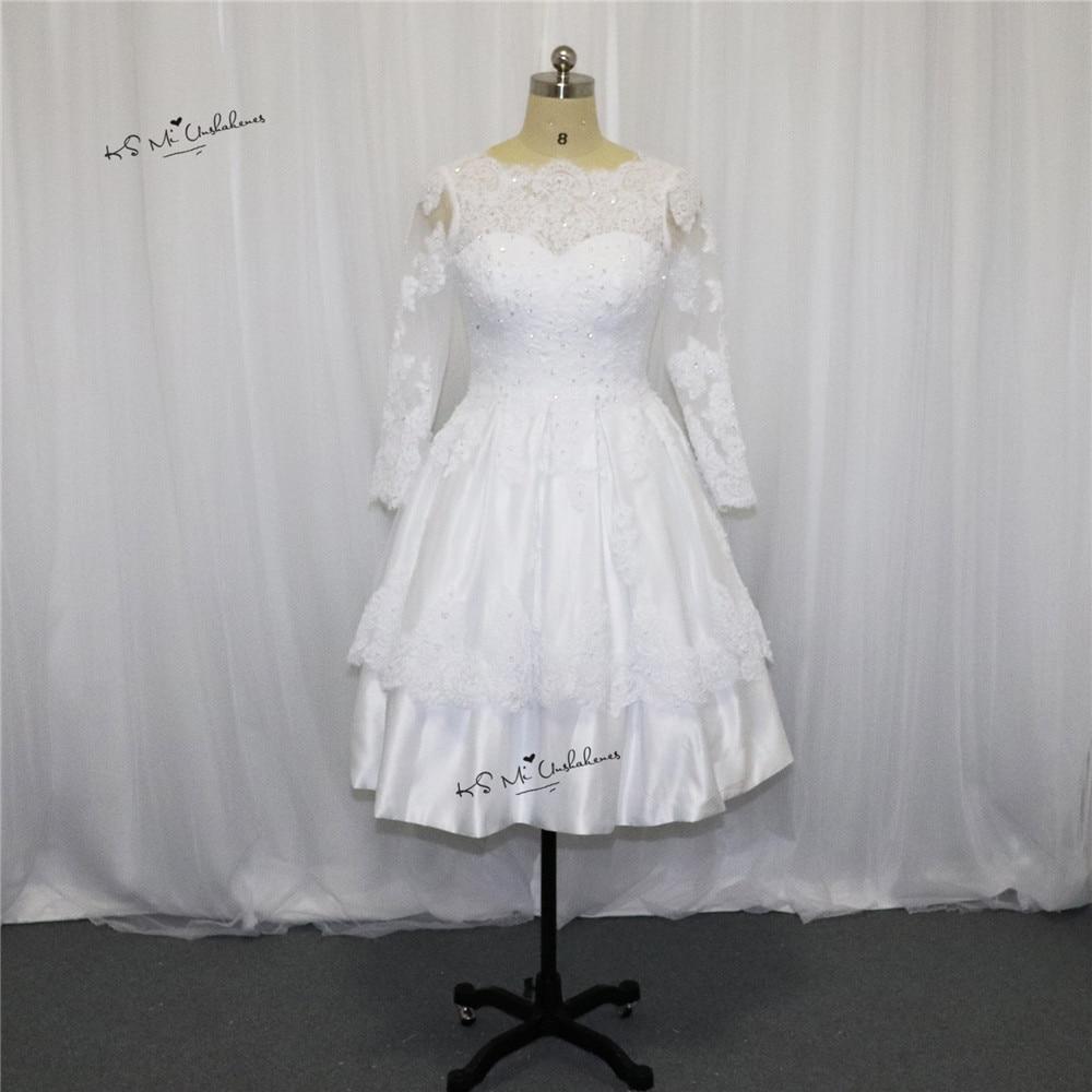 Christmas wedding dress korean - 2017 Spring Christmas Short Wedding Dress Lace Bateau Long Sleeve Bridal Wedding Gowns Open Back Princess