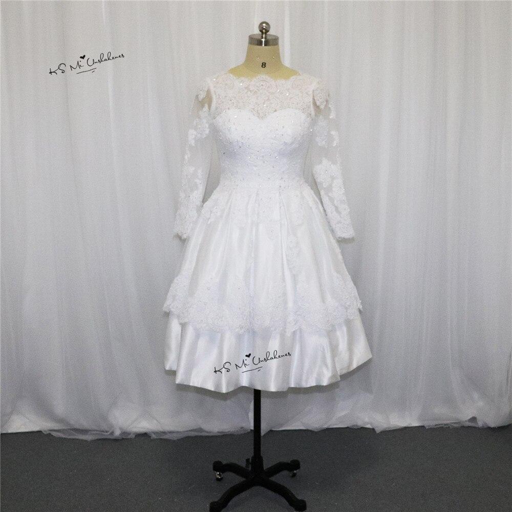 ᑎ2017 Wiosna Boże Narodzenie Krótka Suknia ślubna Koronki Bateau