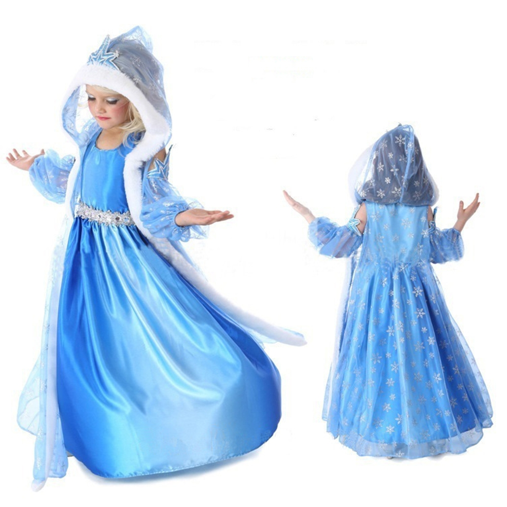 FindPitaya Girls Elsa Dress Party Tex Cosplay Baby Clothing Anna Snow White Print Birthday Princess Dress Fancy Kids Costume