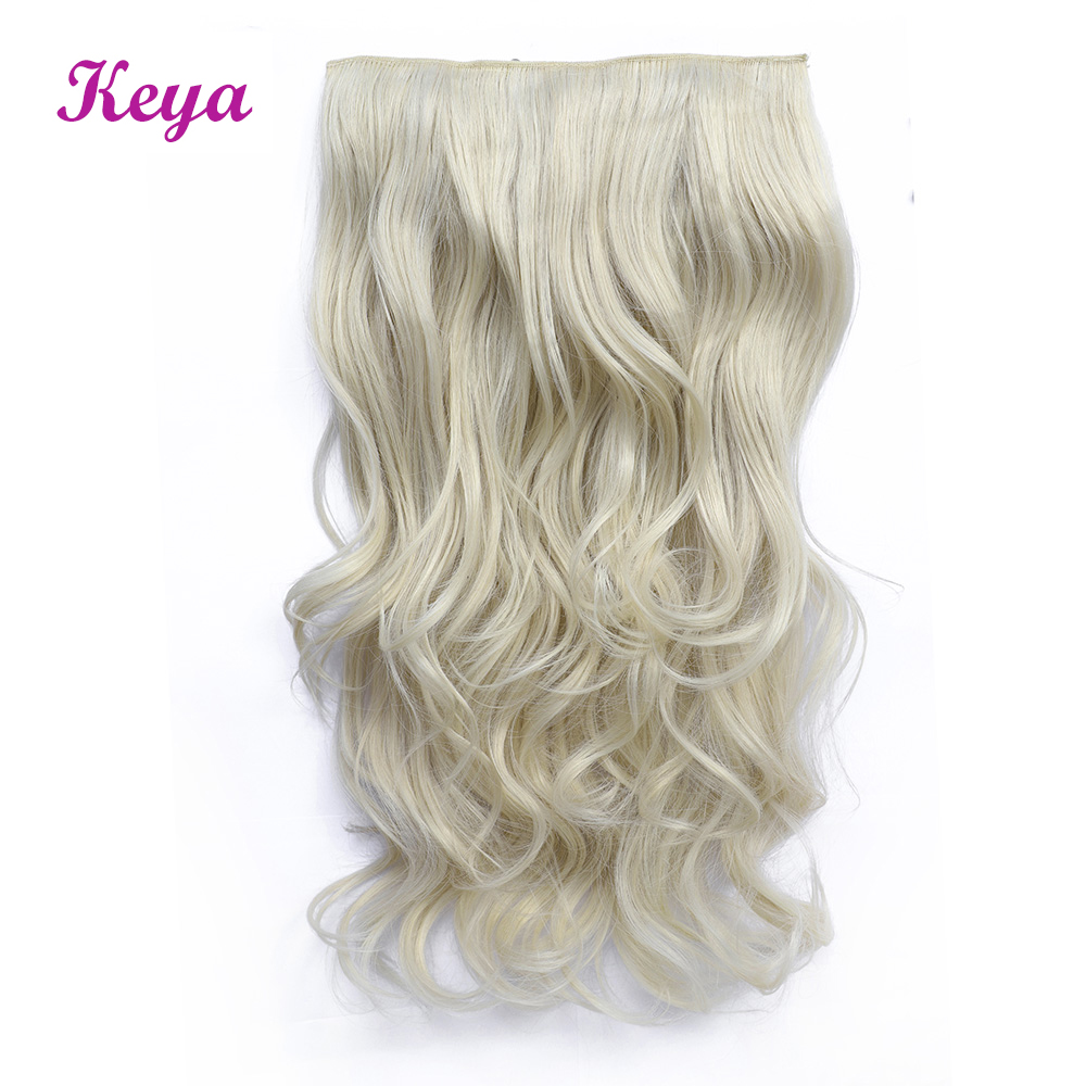 Wavy Clip in Hair Extensions 19 Colors Available Natural Halo Hair Extensions 4 Clips 24 inch Synthetic Heat Resistant Fiber(China)