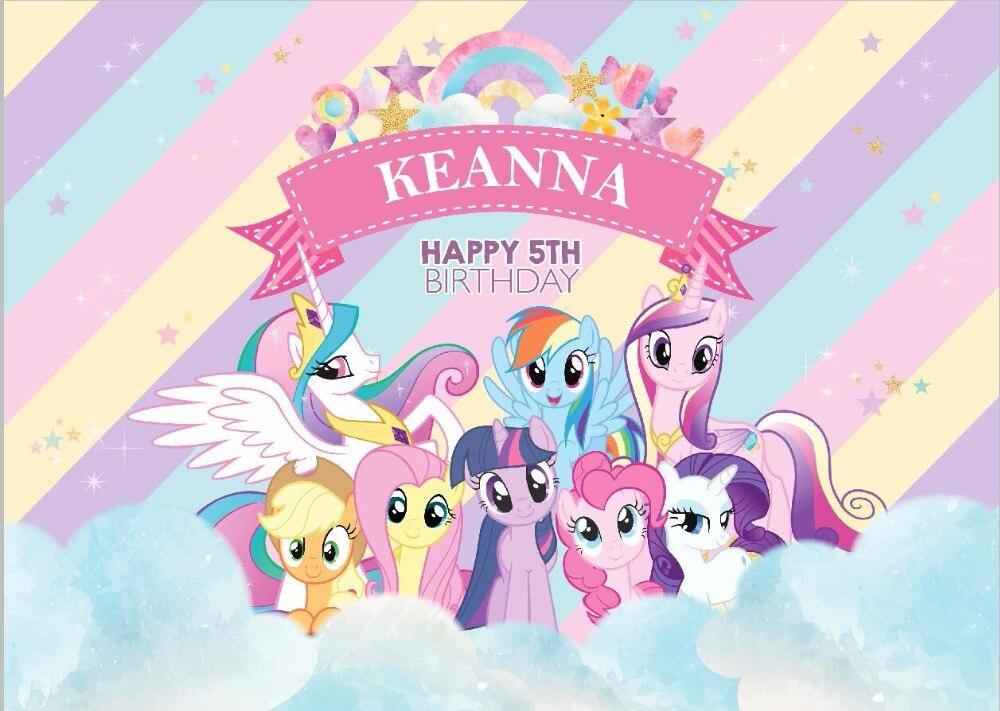 7x5ft Selamat Ulang Tahun My Little Pony Pelangi Awan Langit Pesta Photo Studio Latar Belakang Latar Belakang Vinyl 220 Cm X 150 Cm Background Aliexpress