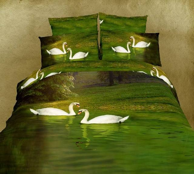 3D Green Swan Lake Aqua Water Bedding Set Sets King Queen Size Bedspread  Sheets Duvet Cover