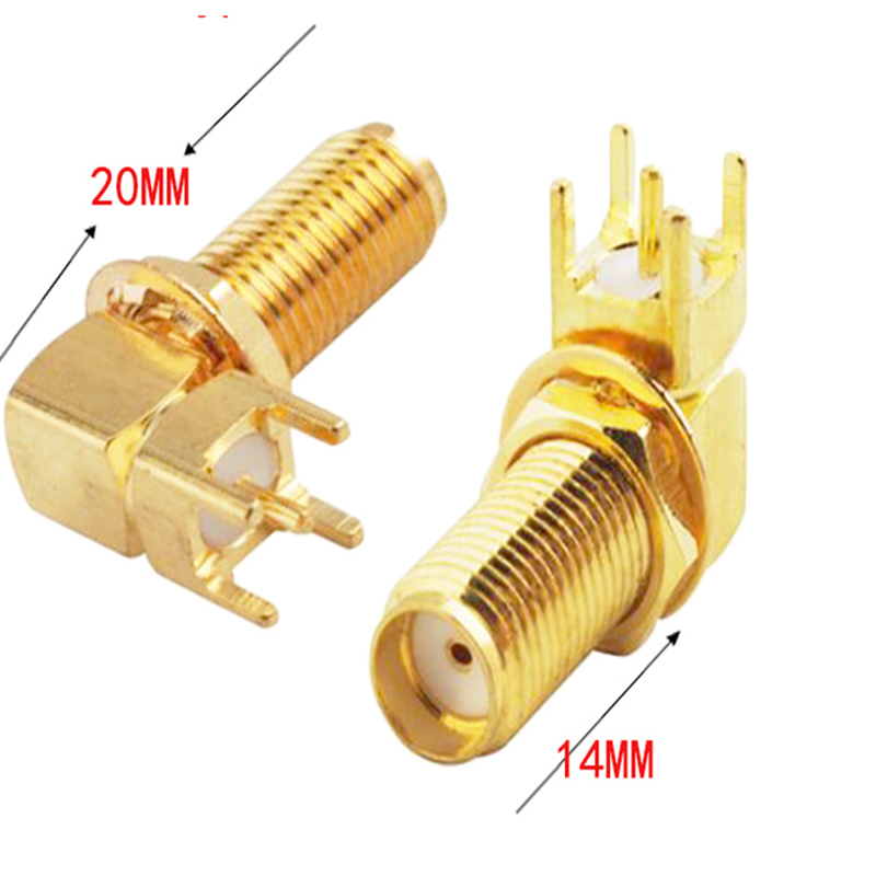 100pcs 20mm SMA Female Jack Right Angle 90 PCB Board Panel Mount RF Coaxial Adapter Connector