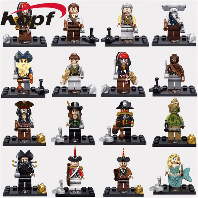 Pirates of the caribbean Jack Sparrow Elizabeth Mermaid Lesaro Lieutenant Salazar Building Blocks Children Gift Toys KSZ515 518 the lieutenant