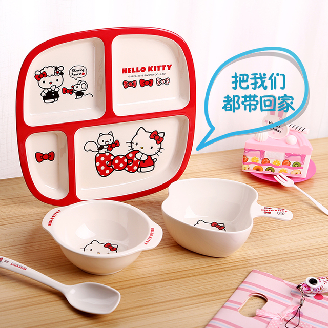 Hello Kitty Childrenu0027s Feeding Tableware Set Sub-grid Plate Baby Bowl Spoon Plate Cartoon Cute  sc 1 st  AliExpress.com & Hello Kitty Childrenu0027s Feeding Tableware Set Sub grid Plate Baby ...