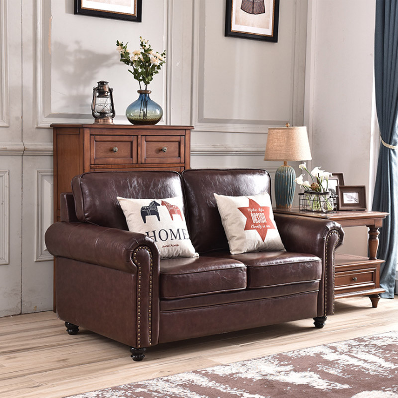 Leather sofa American style living room apartment model room sofa European furniture corner L-shaped combination leather sofa 3
