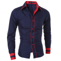 Men Shirt 2016 Fashion Brand Men'S Cuff Striped Long-Sleeved Shirt Male Camisa Masculina Casual Slim Chemise Homme XXL SJQWE