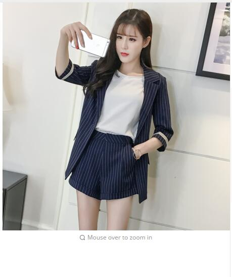 2018 Spring New Arrival Office Lady Striped Suit Half Sleeve + Loose Shorts Woman Suits Casual Woman 2 Piece Set Hot S83708F